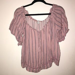 Pink striped off the shoulder top